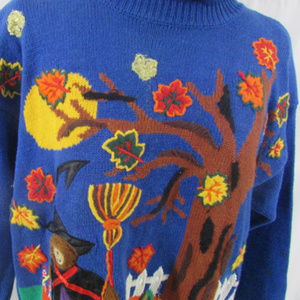 Gladys Bagley Fall Sweater Womens Large Halloween